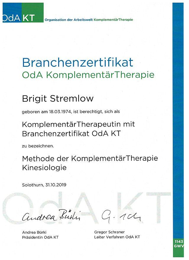 Branchenzertifikat OdA Komplementär Therapie